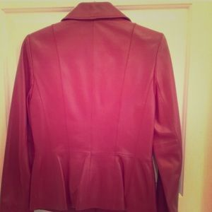 Genuine Red Lamb Leather Jacket and Skirt Suit